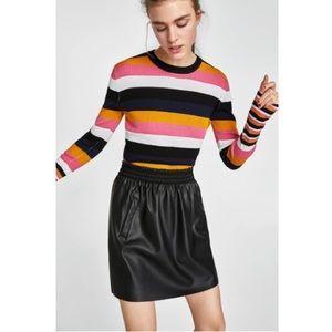 Zara Faux Leather Mini Skirt with Pockets